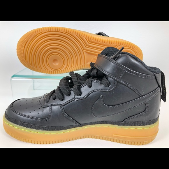 Nike Air Force 1 Mid LV8 GS with Black Gum Bottom. NWT